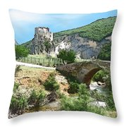 Do-00402 Mussaylaha Fort At Nahr El-jawz Throw Pillow