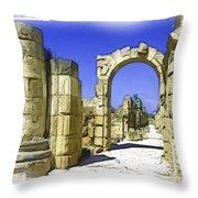 Do-00407 Roman Portico In Tyr Throw Pillow