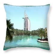 Do-00464 View Of Burj Al-arab Throw Pillow