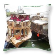 Do-00475 Old Boats Throw Pillow