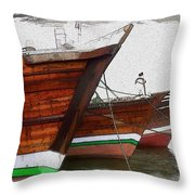 Do-00476 Abra Dhow Boats Throw Pillow