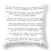 Do It Anyway By Mother Teresa #minimalism #inspirational Throw Pillow