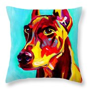 Doberman - Prince Throw Pillow by Alicia VanNoy Call