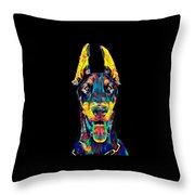 Doberman Dog Breed Head Breed Pet True Friend Color Designed Throw Pillow