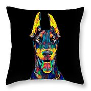 Doberman Dog Breed Head Pet Breed True Friend Color Designed Throw Pillow