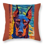 Doberman I C Throw Pillow