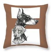 Cropped Doberman Pinscher And Pup Throw Pillow