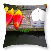 Dock And Boats Throw Pillow