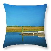 Dock And Marshes Throw Pillow