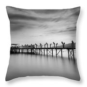 Dock At Autumn Throw Pillow
