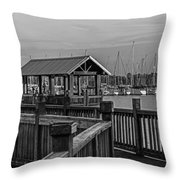 Dock At Mandarin Park Black And White Throw Pillow