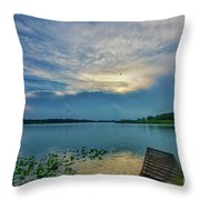 Dock At Shipshewana Lake Throw Pillow
