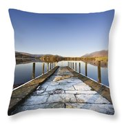 Dock In A Lake, Cumbria, England Throw Pillow