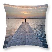 Dock On Arcata Bay At Twilight Throw Pillow