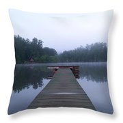 Dock On The Lake Throw Pillow