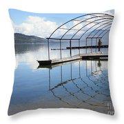 Dock Reflection Throw Pillow