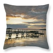 Dock Reflections Throw Pillow