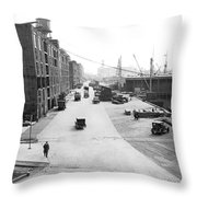 Dock Scene In New York City Throw Pillow