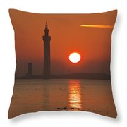 Dock Tower Sunrise Throw Pillow