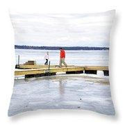 Dock Walking  Throw Pillow