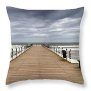 Dock With Benches, Saltburn, England Throw Pillow by John Short