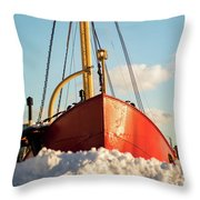 Docked At The Snowfront Throw Pillow