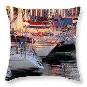 Docked Yatchs Throw Pillow