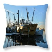 Docks At Darien  Throw Pillow