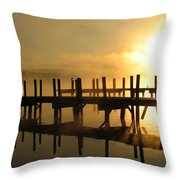 Docks-fire In The Sky Throw Pillow