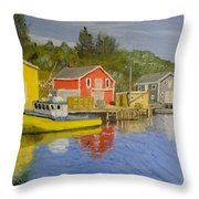 Docks Of Northwest Cove - Nova Scotia Throw Pillow