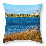 Docks On Cape May Harbor Throw Pillow