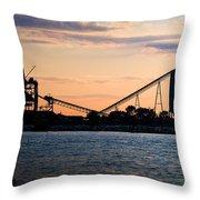 Dockside Sunset Throw Pillow