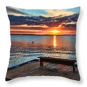 Dockside Sunset By H H Photography Of Florida Throw Pillow