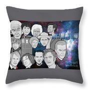 Doctor Who Collage Throw Pillow by Gary Niles