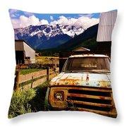 Dodging Mount Currie Throw Pillow