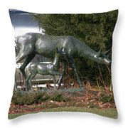 Doe And Fawn Throw Pillow