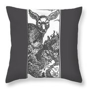 Doe And Weasel Throw Pillow