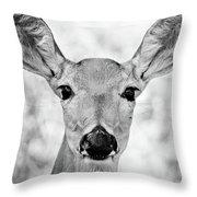 Doe Eyes - Bw Throw Pillow