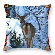 Doe In The Snow Throw Pillow
