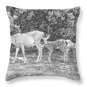 Doe With Twins Pencil Rendering Throw Pillow