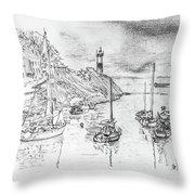 Doellan Sur Mer, Le Port Throw Pillow