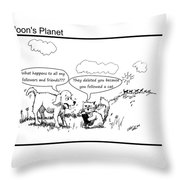 Dog And Cat On Social Media Throw Pillow