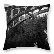 Dog Creek Bridge Railroad  Crossing Throw Pillow