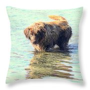 See The Sea Monster Coming Up From The Deep Dark Sea Looking For Something To Eat  Throw Pillow