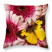 Dog Face Butterfly On Pink Mums Throw Pillow