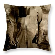 Dog Fights At Giant Heights Throw Pillow