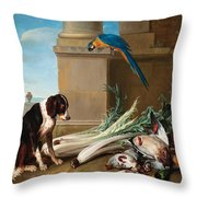 Dog Guarding A Hunting Trophy Throw Pillow