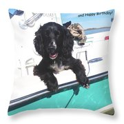 Dog Happy Birthday Card Throw Pillow