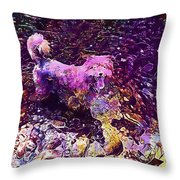 Dog Happy Nature River  Throw Pillow