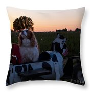 Dog In Cow Wagon  Throw Pillow